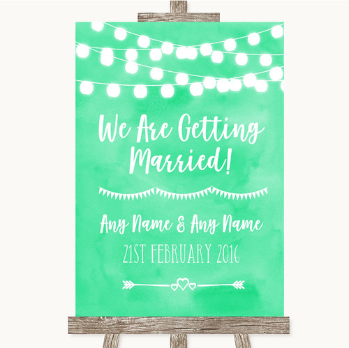 Mint Green Watercolour Lights We Are Getting Married Personalised Wedding Sign