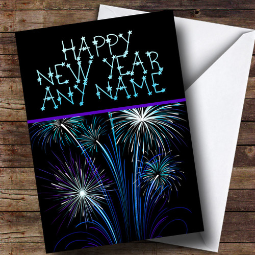 blue purple fireworks personalised new years card