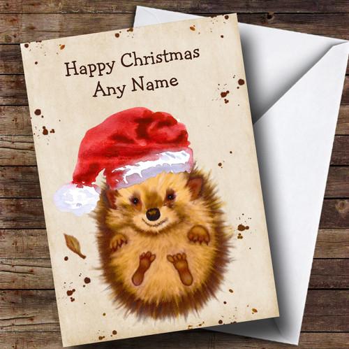 7ca706ba61ed5 Cute Watercolour Hedgehog Santa Hat Personalised Childrens Christmas Card