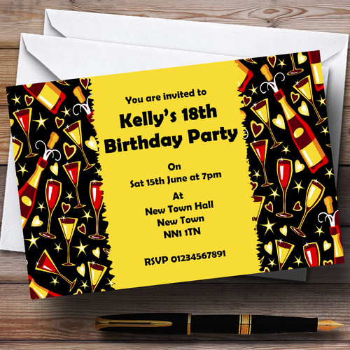 Hipster Bearded Man And Glasses Personalised Birthday Party Invitations