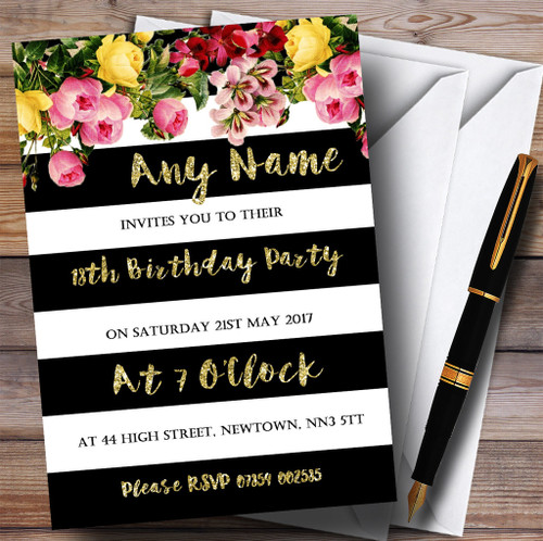 Pink Floral Black White Gold 18th Personalised Birthday Party Invitations
