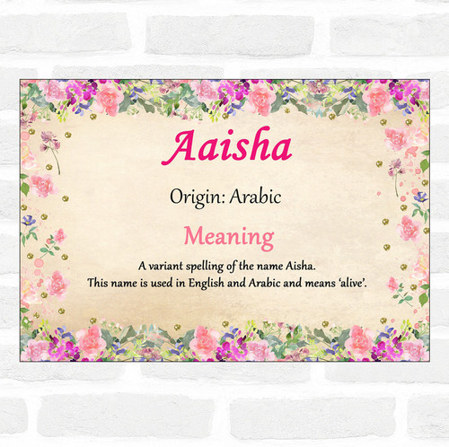 Aaisha Name Meaning Dinner Table Placemat Pink - The Card Zoo
