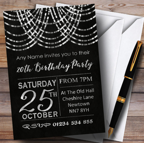 Silver Draped Garland 20th Personalised Birthday Party Invitations