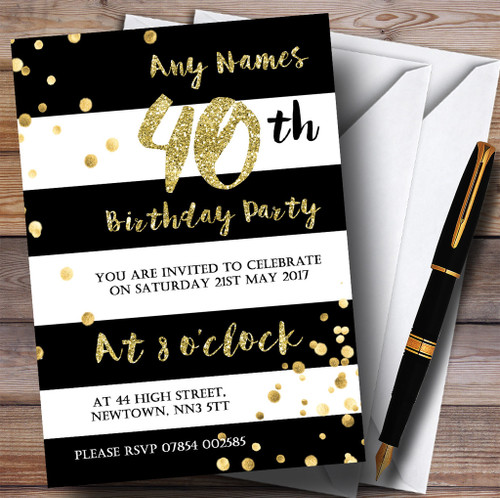 Black White Stripy Gold Confetti 40th Personalised Birthday Party Invitations