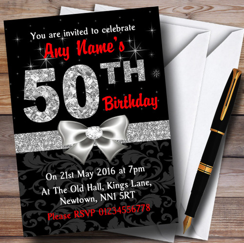 Red Black Silver Diamond 50Th Birthday Party Personalised Invitations