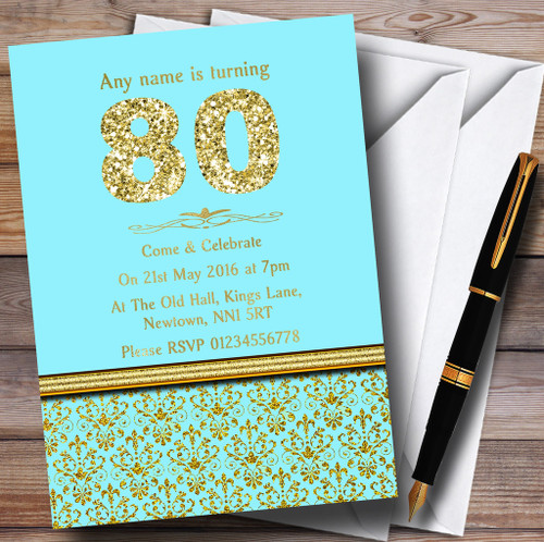 Aqua Sky Blue Gold Vintage Damask 80Th Personalised Birthday Party Invitations