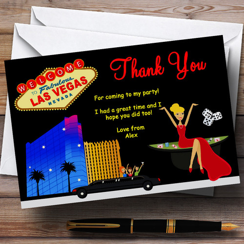 Casino Las Vegas Personalised Birthday Party Thank You Cards