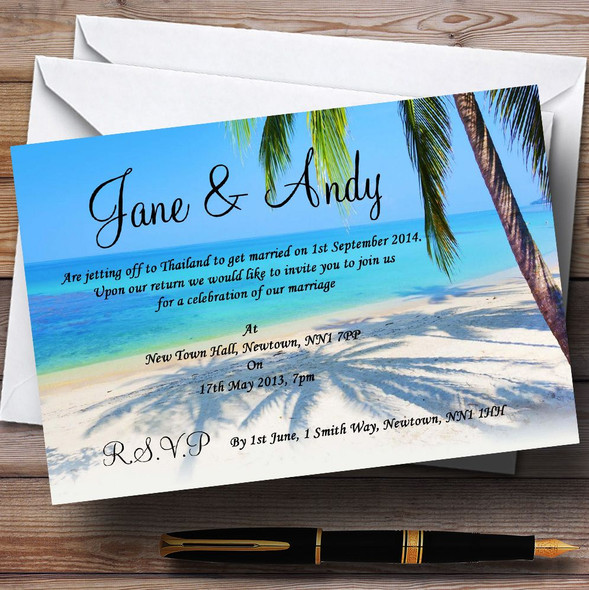 Tropical Beach Palm Tree Personalised Wedding Invitations