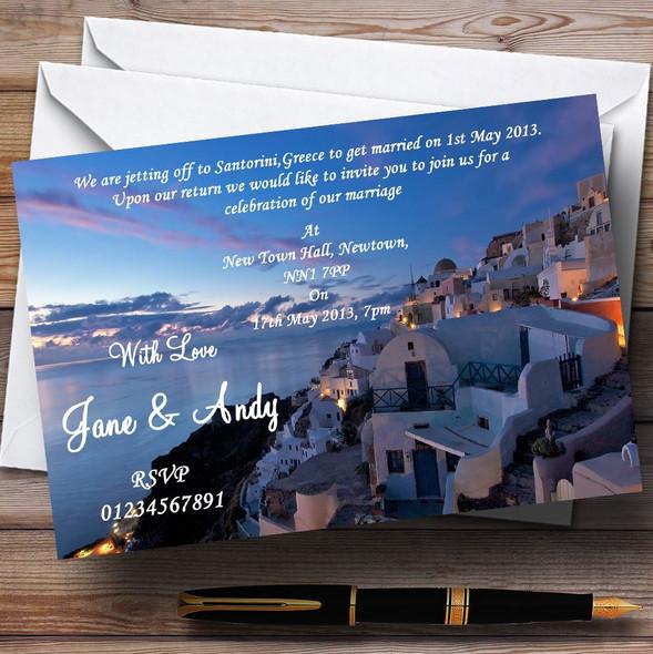 Santorini Greece Jetting Off Married Abroad Personalised Wedding Invitations