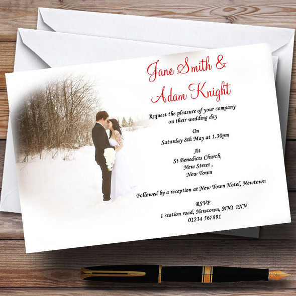 White Winter Personalised Wedding Invitations