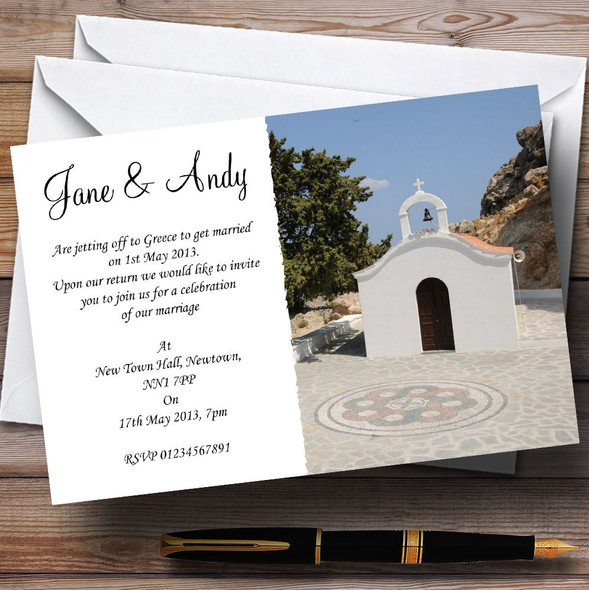 St Pauls Lindos Rhodes Jetting Off Abroad Personalised Wedding Invitations