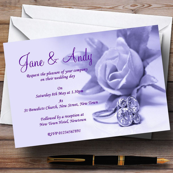 Lilac And Purple Rose Ring Personalised Wedding Invitations