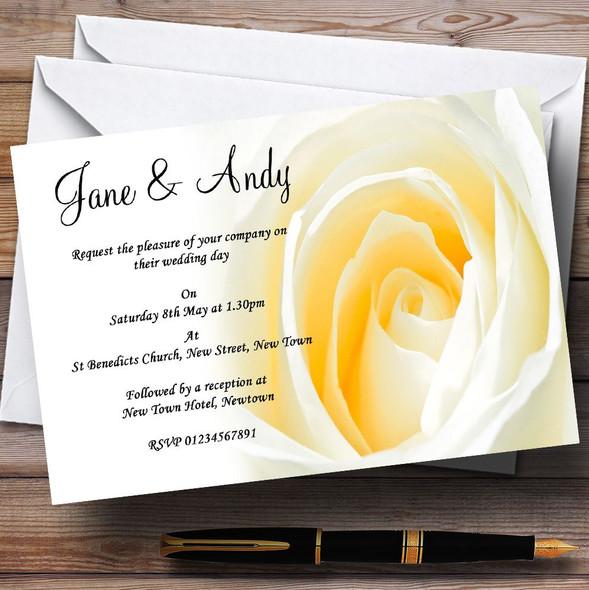Pale Lemon Yellow Rose Personalised Wedding Invitations