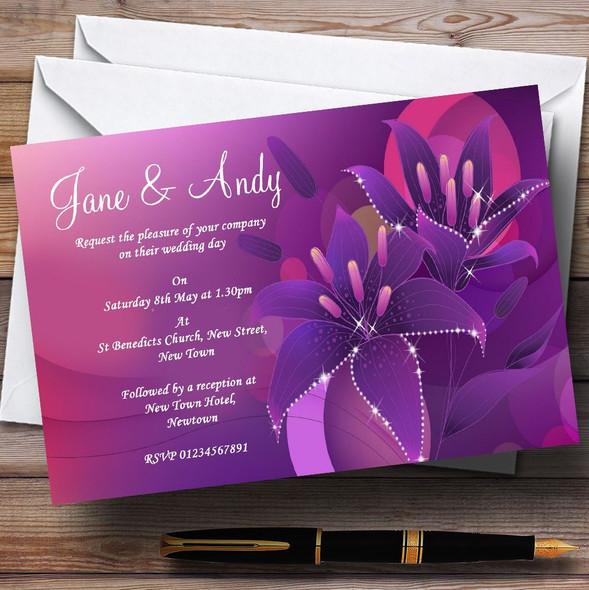 Purple Pink Lily Personalised Wedding Invitations