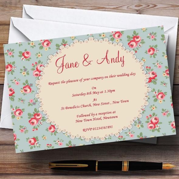 Floral Kidston Inspired Vintage Personalised Wedding Invitations