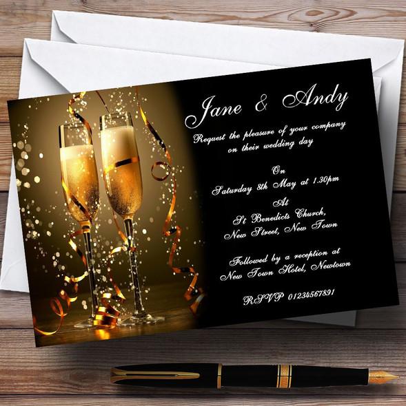 Black Champagne Personalised Wedding Invitations