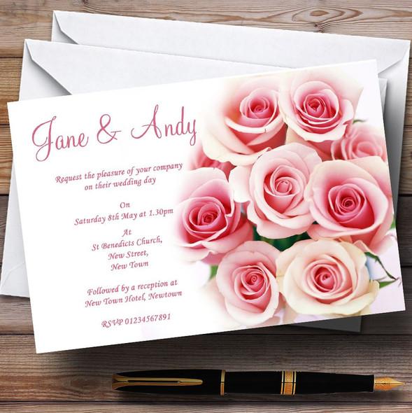Soft Pastel Pink Gentle Roses Personalised Wedding Invitations