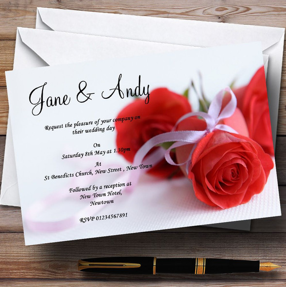 Red Rose & White Ribbon Personalised Wedding Invitations