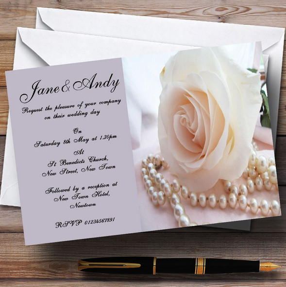 Lilac Rose Pearls Personalised Wedding Invitations
