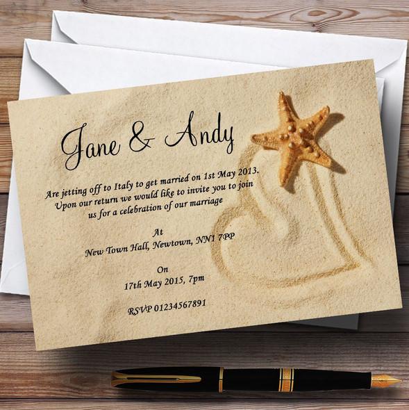 Sandy Beach Romantic Personalised Wedding Invitations
