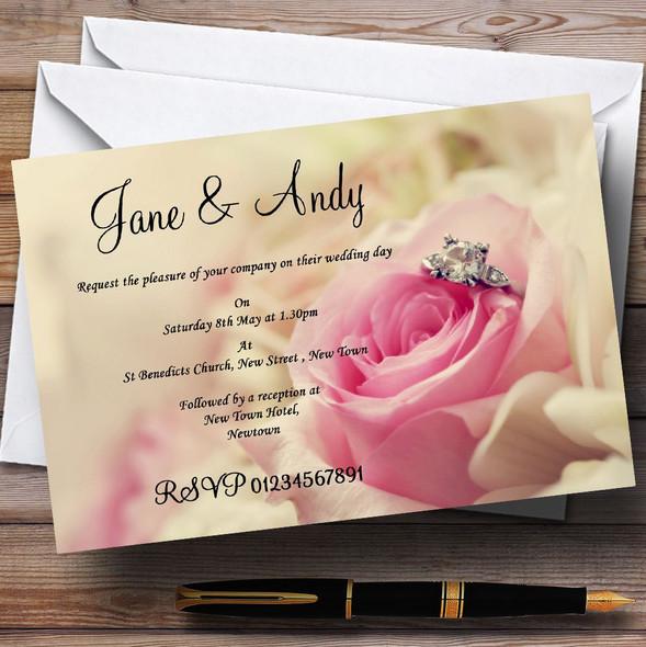 Stunning Pale Pink Rose & Diamond Personalised Wedding Invitations