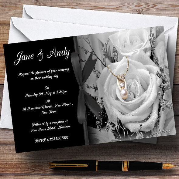 Black White Rose Pearl Personalised Wedding Invitations