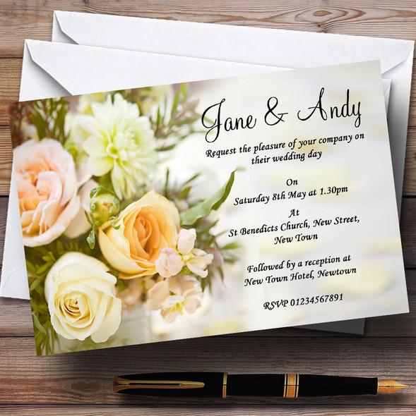 Peach Ivory Cream Rose Garden Personalised Wedding Invitations