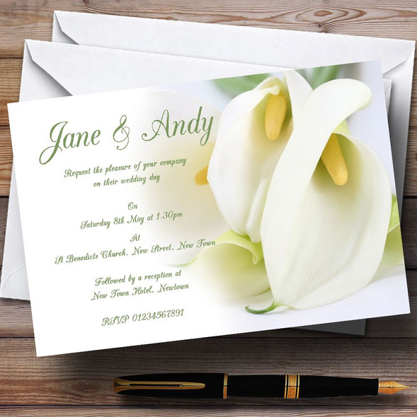 Stunning White Lily Green Personalised Wedding Invitations