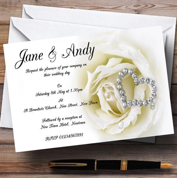 Cream Ivory Rose Heart Personalised Wedding Invitations