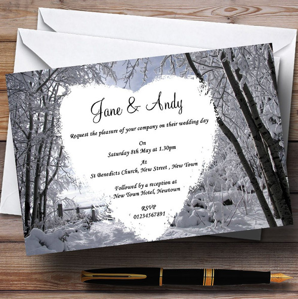 Winter Wedding Snow Scene Personalised Wedding Invitations