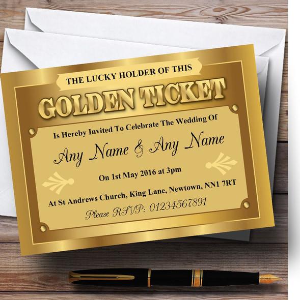 Golden Ticket Personalised Wedding Invitations