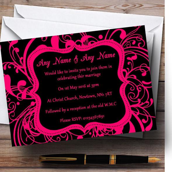 Black & Pink Swirl Deco Personalised Wedding Invitations
