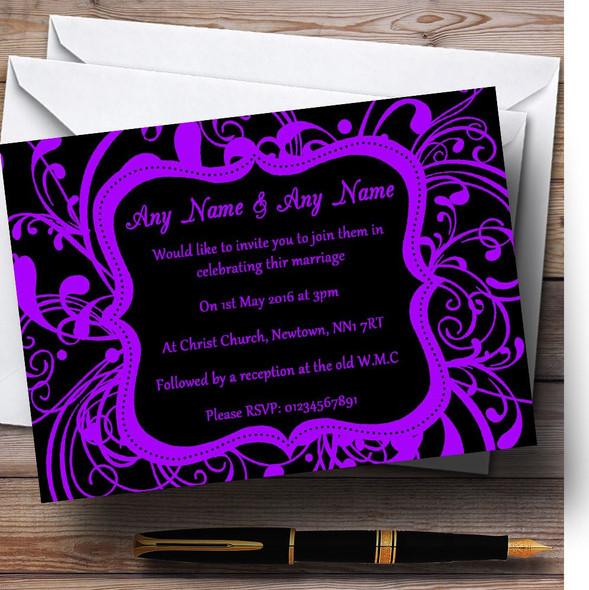 Black & Purple Swirl Deco Personalised Wedding Invitations