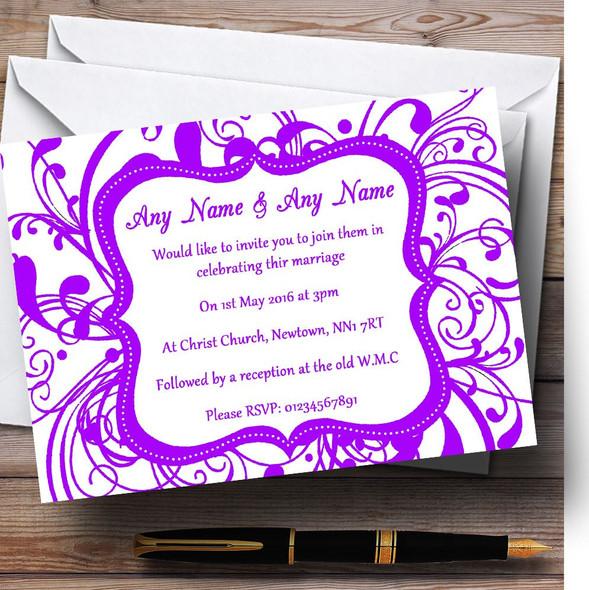 White & Purple Swirl Deco Personalised Wedding Invitations