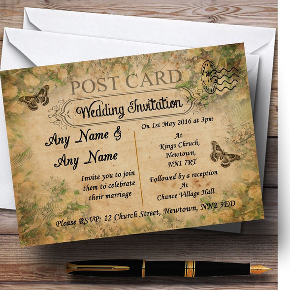 White Rose Vintage Shabby Chic Postcard Personalised Wedding Invitations