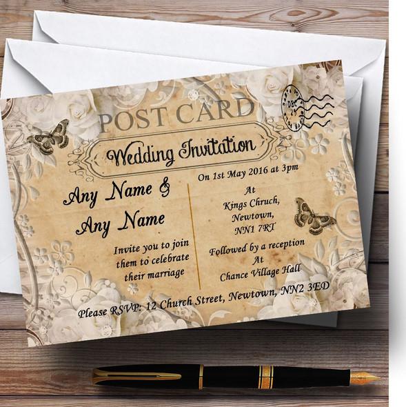 White Roses Vintage Shabby Chic Postcard Personalised Wedding Invitations