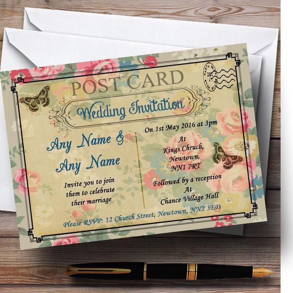 Blue Floral Vintage Paris Shabby Chic Postcard Personalised Wedding Invitations