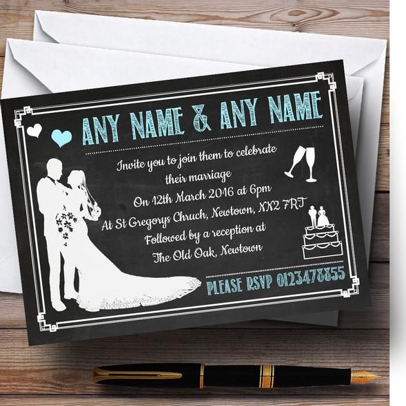 Chalkboard Aqua Personalised Wedding Invitations