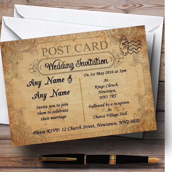 Classic Vintage Shabby Chic Postcard Personalised Wedding Invitations