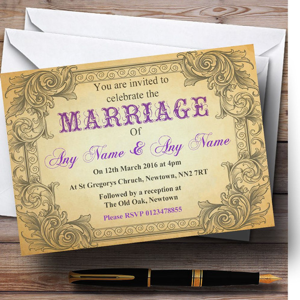 Typography Vintage Purple Postcard Personalised Wedding Invitations