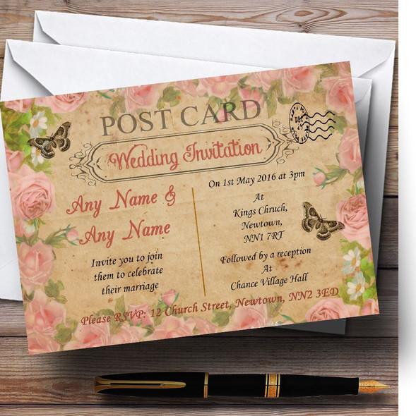 Pink Rose Vintage Shabby Chic Postcard Personalised Wedding Invitations
