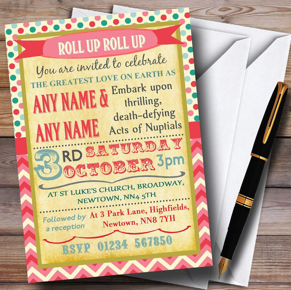 Vintage Carnival Old Style Circus Candy Pink Wedding Personalised Invitations