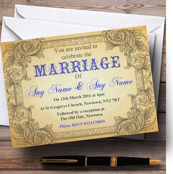 Typography Vintage Blue Postcard Personalised Wedding Invitations