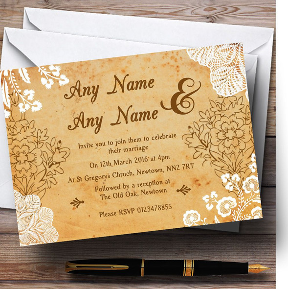 Shabby Chic Rustic Vintage Lace Personalised Wedding Invitations