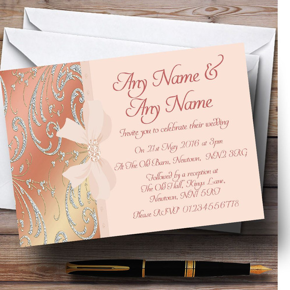 Pale Pink Coral Diamante Bow Wedding Personalised Invitations