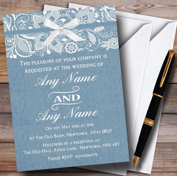 Vintage Dusky Blue Burlap & Lace Personalised Wedding Invitations