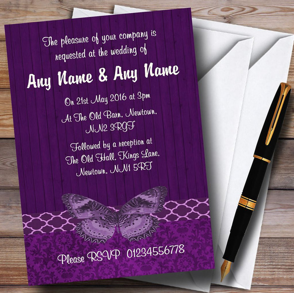 Rustic Vintage Wood Butterfly Purple Personalised Wedding Invitations
