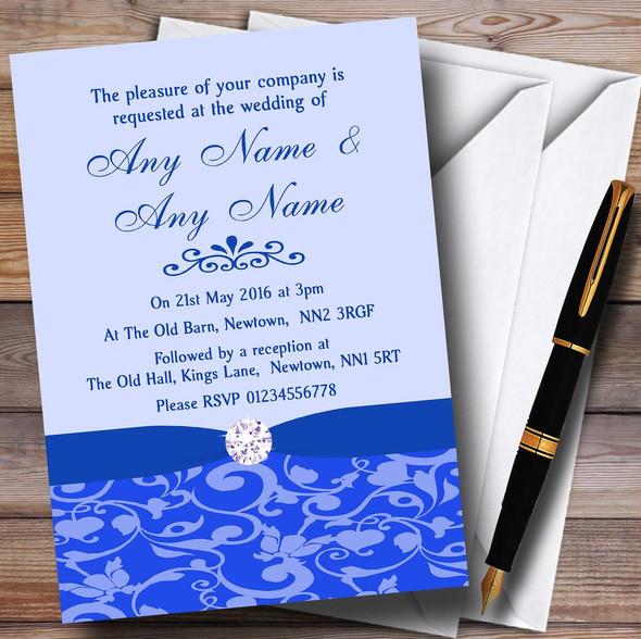 Cobalt Blue Vintage Floral Damask Diamante Personalised Wedding Invitations