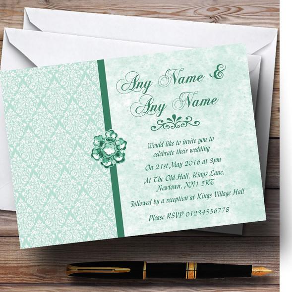 Pale Mint Green Vintage Damask Jewel Personalised Wedding Invitations