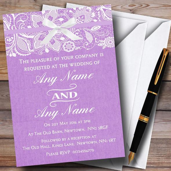 Vintage Lilac Purple Burlap & Lace Personalised Wedding Invitations
